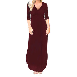 Red Long Sleeve Maxi Dress Pockets wrap front